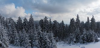 Panoramic view south of the Feldberg over the snowy Taunus, Hesse, Germany.  Stock Image