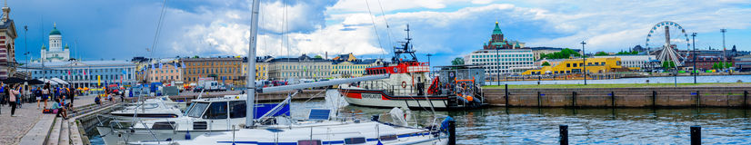 Panoramic view of the south harbor, in Helsinki Stock Image