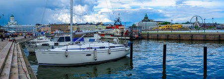 Panoramic view of the south harbor, in Helsinki Royalty Free Stock Images