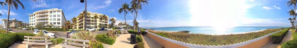 Panoramic view of South Ocean Boulevard in Palm Beach, Florida.  stock photos