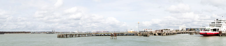 Panoramic view of Southampton Dock stock image