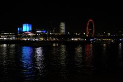 View of the Southbank at night,London,UK. Panoramic view of the Southbank from the opposite site of the River Thames Stock Image