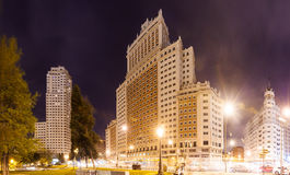 Panoramic view of Spain Square in Madrid Stock Image