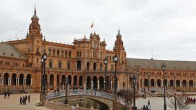 Panorama of Plaza de Espana in Seville, Andalusia, Spain. Panoramic view of the Spain Square Plaza de Espana in Seville Sevilla city, Andalusia, Spain. Example stock footage