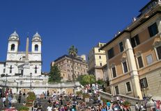 Tourist at spanish steps Royalty Free Stock Image