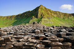 The Giant`s Causeway in Northern Ireland. Panoramic view of the special Giant`s Causeway royalty free stock images