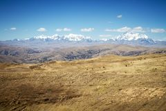 Panoramic view of spectacular high mountains, Cordillera, Andes, Peru, Clear blue sky with a few white clouds. Scenic landscape, wallpaper, mountains covered royalty free stock photography