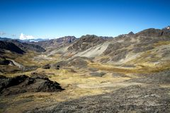 Panoramic view of spectacular high mountains, Cordillera, Andes, Peru, Clear blue sky with a few white clouds. Scenic landscape, wallpaper stock photos