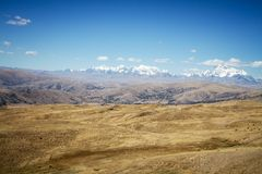Panoramic view of spectacular high mountains, Cordillera, Andes, Peru, Clear blue sky with a few white clouds. Scenic landscape, wallpaper, mountains covered stock photos