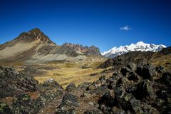 Panoramic view of spectacular high mountains, Cordillera, Andes, Peru, Clear blue sky with a few white clouds. Scenic landscape, wallpaper, mountains covered stock photography