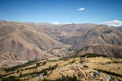 Panoramic view of spectacular high mountains, Cordillera, Andes, Peru, Clear blue sky with a few white clouds. Scenic landscape, wallpaper stock photo