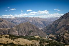 Panoramic view of spectacular high mountains, Cordillera, Andes, Peru, Clear blue sky with a few white clouds. Scenic landscape, wallpaper royalty free stock images