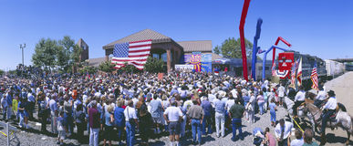 Panoramic view of spectators at Oxnard, CA train station for George W. Bush whistle-stop tour Stock Image