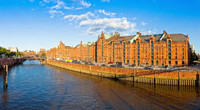 Panoramic view of Speicherstadt disctrict in Hamburg, Germany Stock Photography