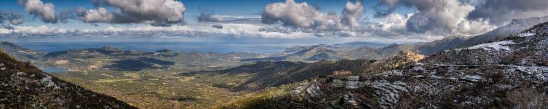 Panoramic view of Speloncato and the Reginu valley Stock Photos