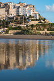 Panoramic view of Sperlonga and beautiful sandy beach. Italy Royalty Free Stock Photography
