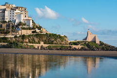 Panoramic view of Sperlonga and beautiful sandy beach. Italy Royalty Free Stock Photos