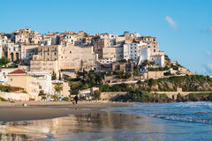 Panoramic view of Sperlonga and beautiful sandy beach. Italy Royalty Free Stock Image