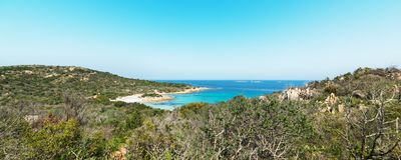 Panoramic view of Spiaggia del Principe. In Sardinia Stock Images