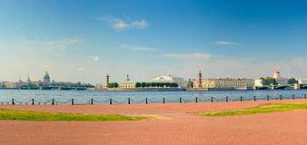Panoramic view of the Spit of Vasilievsky Island Royalty Free Stock Photos