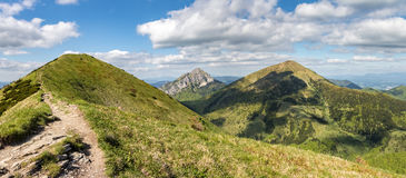 Panoramic view from spring slovak Little Fatra hills National Pa Stock Photo