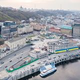 River port and Postal Square with St. Elijah Church , tourist boats on a river Dnepr in Kiev, Ukraine royalty free stock photo