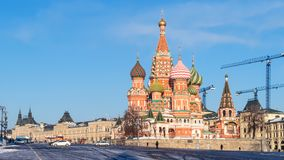 Panoramic view of St Basil Cathedral on Red Square stock photos