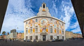 Panoramic view of St. George Palace Palazzo San Giorgio in Genoa historic center, near `Porto Antico` Old port area, Italy. Panoramic view of St. George Palace royalty free stock images