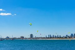 Panoramic view of St.Kilda beach with kite surfers and Melbourne. Cityscape on sunny day Stock Images