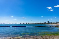 Panoramic view of St.Kilda beach and Melbourne cityscape. On sunny day Royalty Free Stock Photography