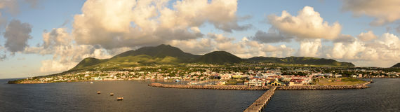 Panoramic view of St Kitts in the Caribbean Stock Image
