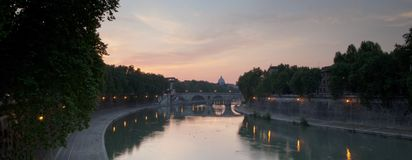 Panoramic view of St. Peter's Basilica Royalty Free Stock Images