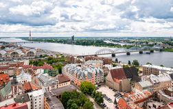 Panoramic view from St. Peter's Church, Riga Royalty Free Stock Photography