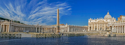 Panoramic view of St. Peter`s Square, Vatican City. Stock Photos