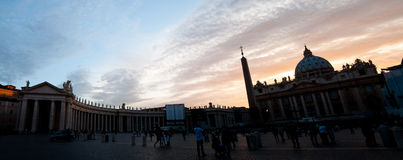 Panoramic view of St Peter square and basilica on afternoon at V Royalty Free Stock Photography