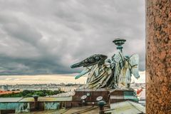 Panoramic view of St. Petersburg from the height of St. Isaac`s Cathedral with angels on the roof, St. Petersburg, Russia. Amazing city Saint Petersburg Royalty Free Stock Image