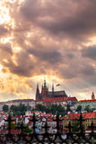 Panoramic view of St. Vitus Cathedral and Castle in Prague, Czech Republic Royalty Free Stock Photos
