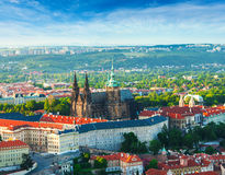 Panoramic view of St. Vitus Cathedral and Castle in Prague, Czech Republic Stock Images