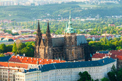 Panoramic view of St. Vitus Cathedral and Castle in Prague, Czech Republic Royalty Free Stock Photography