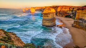 Twelve Apostles Victoria cinemagraph. Panoramic view of the stacks that comprise the Twelve Apostles at sunset, one of the main attractions of the Port Campbell stock video