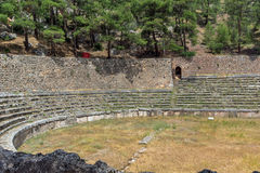 Panoramic view of Stadium at Ancient Greek archaeological site of Delphi, Greece Stock Photo
