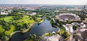 Panoramic view at Stadium of the Olympiapark in Munich,  Germany Royalty Free Stock Images