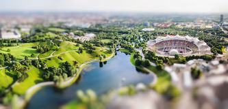 Panoramic view at Stadium of the Olympiapark in Munich, Germany Royalty Free Stock Photo
