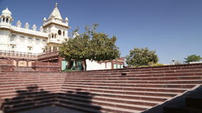 Panoramic view of staircase in front of Jaswant Thada temple. stock video