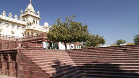 Panoramic view of staircase and fronts of Jaswant Thada temple. stock footage