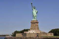 Panoramic view of Statue of Liberty and Liberty island, New York City, USA stock photos
