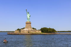 Panoramic view of Statue of Liberty and Liberty island, New York City, USA Royalty Free Stock Photos