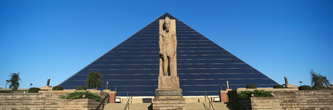 Panoramic view of statue of Ramses at entrance of Pyramid Sports Arena in Memphis, TN Royalty Free Stock Image