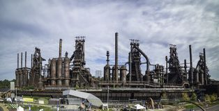 Panoramic view of the steel factory still standing in Bethlehem royalty free stock photos