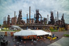 Panoramic view of the steel factory still standing in Bethlehem royalty free stock images